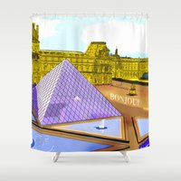 bonjour Shower Curtains featuring Bonjour by Hola Vicky
