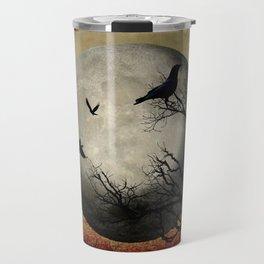 Rustic Black Bird Raven Crow Tree Dark Side of the Moon Gothic Art A169 Travel Mug