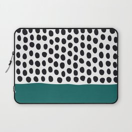 """Elegant Handpainted Polka Dots with """"Shaded Spruce"""", Fall, Autumn Color Laptop Sleeve"""