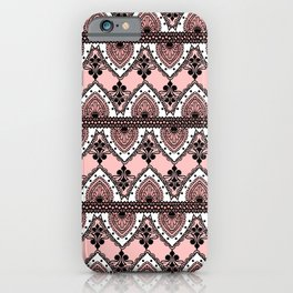 Blush Pink Black and White Ornate Lace Pattern iPhone Case