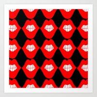 lip Art Prints featuring lip by Panic Junkie
