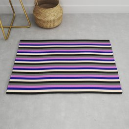Vibrant Dim Gray, Orchid, Blue, Beige, and Black Colored Stripes/Lines Pattern Rug