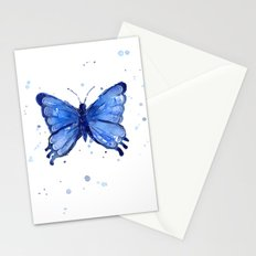Butterfly Blue Watercolor Animal Painting Stationery Cards