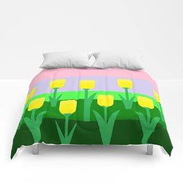 Yellow Tulips Comforters