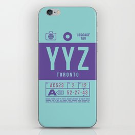 Retro Airline Luggage Tag 2.0 - YYZ Toronto Pearson Airport Canada iPhone Skin