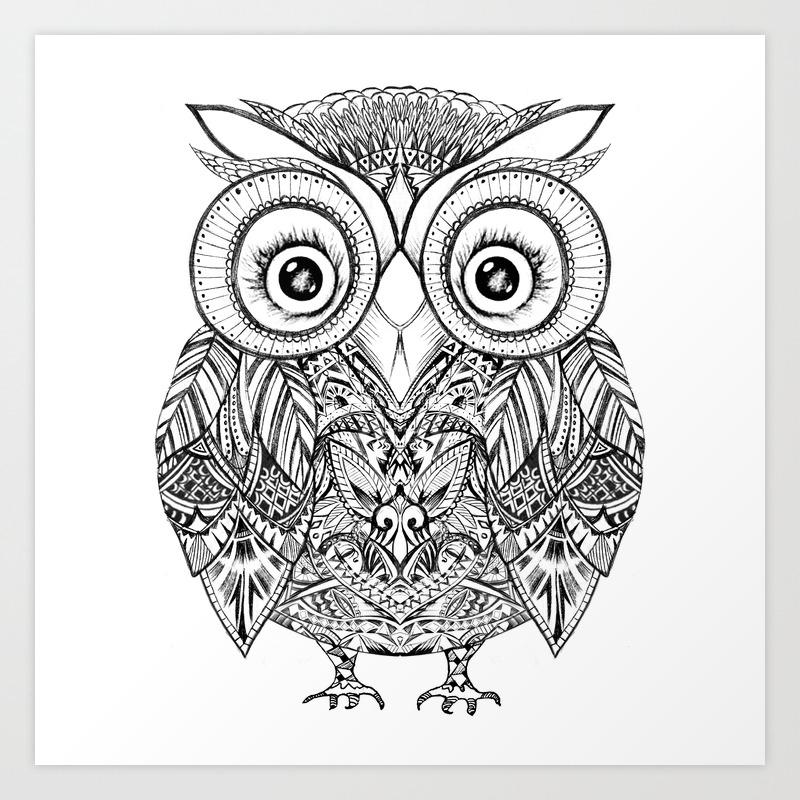 Aztec Cute Owl Art Print By Annie0710 Society6