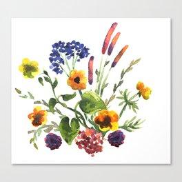Watercolor floral bouquet. Canvas Print