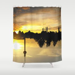 Yellow Skies - Upside Up VII Shower Curtain