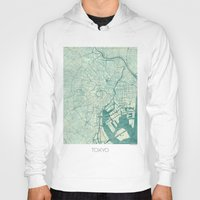 vintage map Hoodies featuring Tokyo Map Blue Vintage by City Art Posters