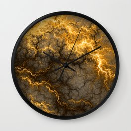 Wild Electricity - Gold Wall Clock