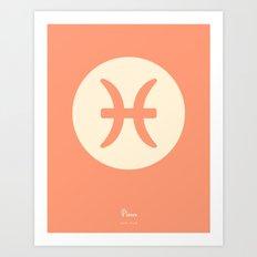 Pisces Symbol Pink Art Print