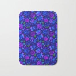 Watercolor Floral Garden in Electric Blue Bonnet Bath Mat