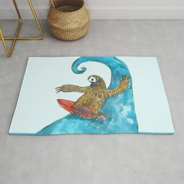 surfing sloth in the spring Rug