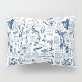 Da Vinci's Anatomy Sketchbook // Dark Blue Pillow Sham