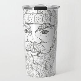 Paul Bunyan Lumberjack Doodle Art Travel Mug