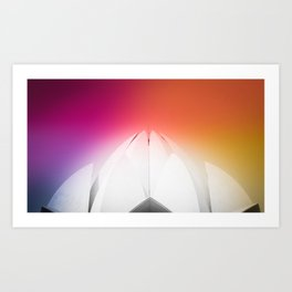Lotus Flower Symmetry Perfection under the Rainbow at Lotus Temple in India Art Print