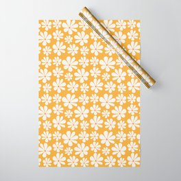 Floral Daisy Pattern - Golden Yellow Wrapping Paper
