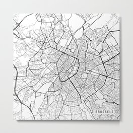 Brussels Map, Belgium - Black and White Metal Print