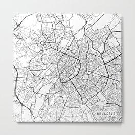 Brussels Map, Belgium - Black and White Metal Print