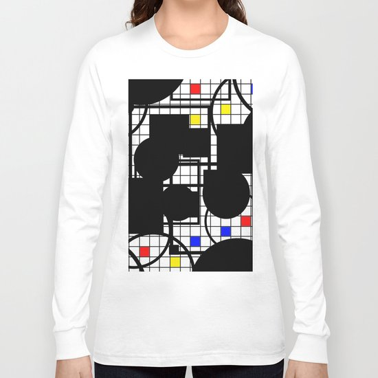 Colour Relationships - Black, white, red, yellow, blue, geometric abstract artwork Long Sleeve T-shirt