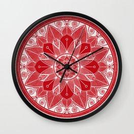 Holly Berry and White Mandala 4 Wall Clock