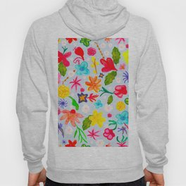 458-Watercolor colorful vibrant colored water color mix ditsy floral pattern  Hoody
