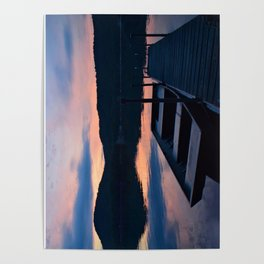Pretty Adirondack Dawn: Jon Boat and Old Dock Poster