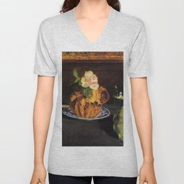 Still Life with Brioche by Édouard Manet Unisex V-Neck