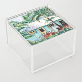 Tropical Vacation Cottage Acrylic Box