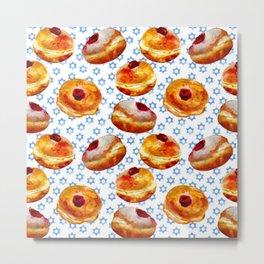 My Bubbie's Hanukkah Jelly Donuts (Hanukkah Sufganiyot) Metal Print