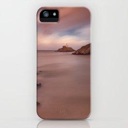 Sunset on Mumbles lighthouse iPhone Case