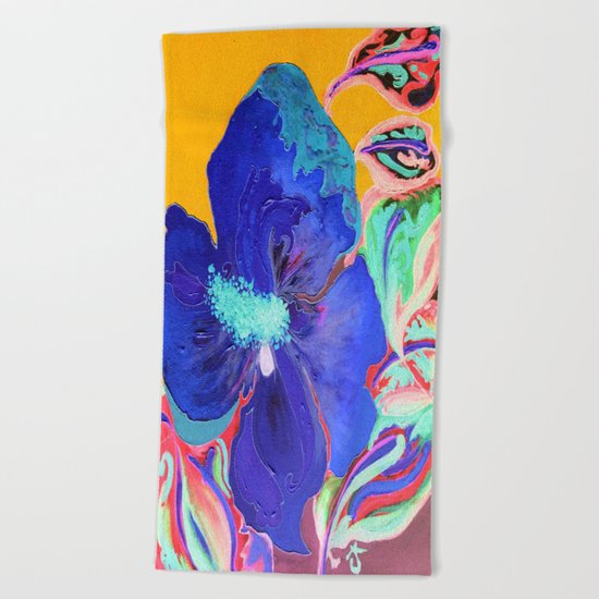 Birthday Acrylic Blue Orange Hibiscus Flower Painting with Red and Green Leaves Beach Towel