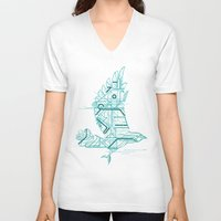 wind V-neck T-shirts featuring Wind-Up Bird by Jay Fleck