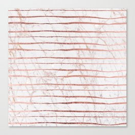 Stylish rose gold glitter stripes white marble pattern Canvas Print
