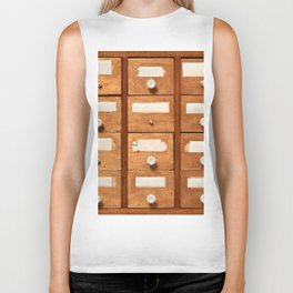 Backgrounds and textures: very old wooden cabinet with drawers Biker Tank