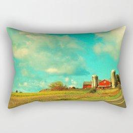 Red Barn, Blue Sky Rectangular Pillow