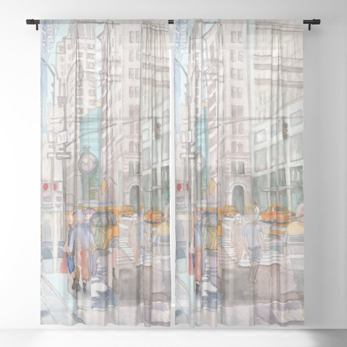 Reflection In The New York City Windows Ii Sheer Curtain By Artoutloop