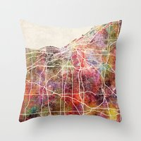 cleveland Throw Pillows featuring Cleveland by MapMapMaps.Watercolors