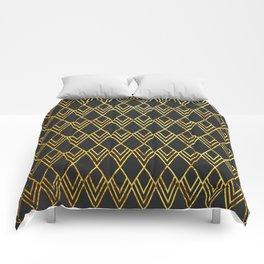 Art Deco Diamond Teardop - Black & Gold Comforters