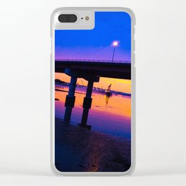 Colorful Casco Bay Bridge Sunset in South Portland, Maine Clear iPhone Case