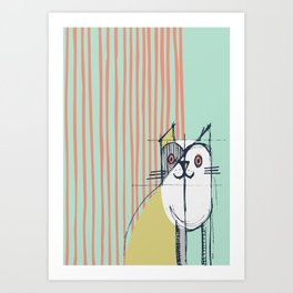 Cubist Cat Study #5 by Friztin Art Print