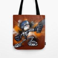 robocop Tote Bags featuring Robocop by alexviveros.net
