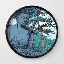 The Great Buddha At Kamakura - Vintage Japanese Woodblock Print Art Wall Clock