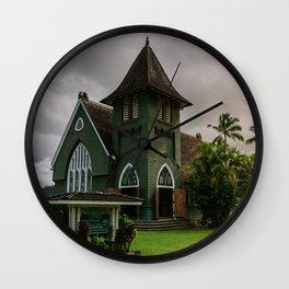Wai'oli Hui'ia Church Hanalei Kauai Hawaii | Tropical Island Architecture Photography Print Wall Clock