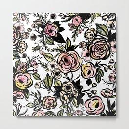 Colored Brushed Floral Pattern Metal Print