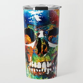Colorful Skull Art - Aye Candy - By Sharon Cummings Travel Mug