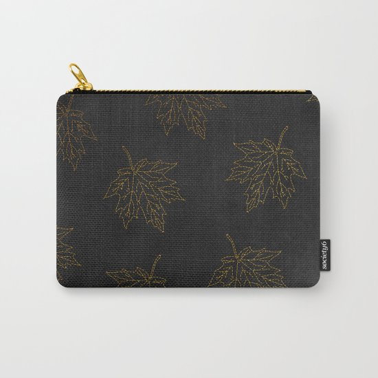 Autumn-world 3 - gold leaves on black chalkboard Carry-All Pouch