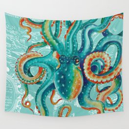 Teal Octopus On Light Teal Vintage Map Wall Tapestry