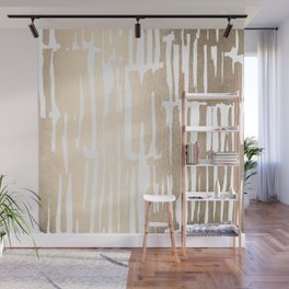 White Gold Sands Bamboo Stripes Wall Mural