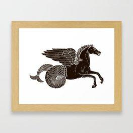 Hippocampus Sea Horse Myth Retro Vintage Rough Design Framed Art Print